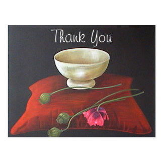 Floral Opium Poppy Thank You Postcard