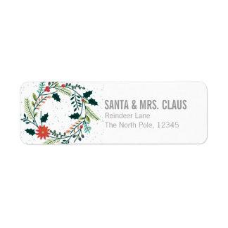 Floral Or Botanical Christmas Wreath Label