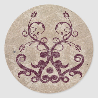 Floral Orament Classic Round Sticker