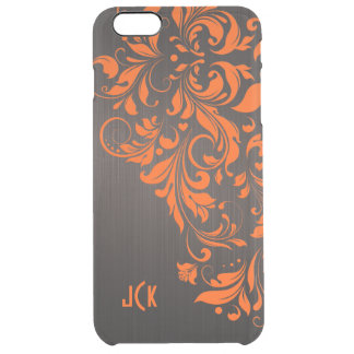Floral Orange Lace On Brown background Clear iPhone 6 Plus Case