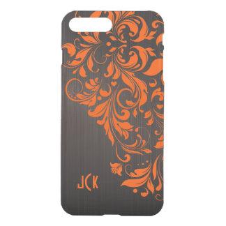 Floral Orange Lace On Brown background iPhone 8 Plus/7 Plus Case