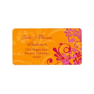 Floral Orange Pink Wedding Return Address Label