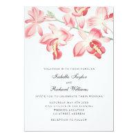 Floral orchid elegant modern wedding invitation