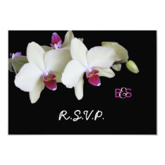 """Floral Orchid RSVP Wedding Invitation and Monogram 3.5"""" X 5"""" Invitation Card at Zazzle"""