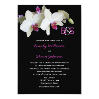 """Floral Orchid Wedding Invitation with Monograms 5"""" X 7"""" Invitation Card"""