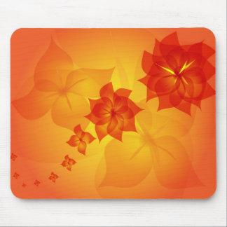 floral ornament orange sun mouse pad