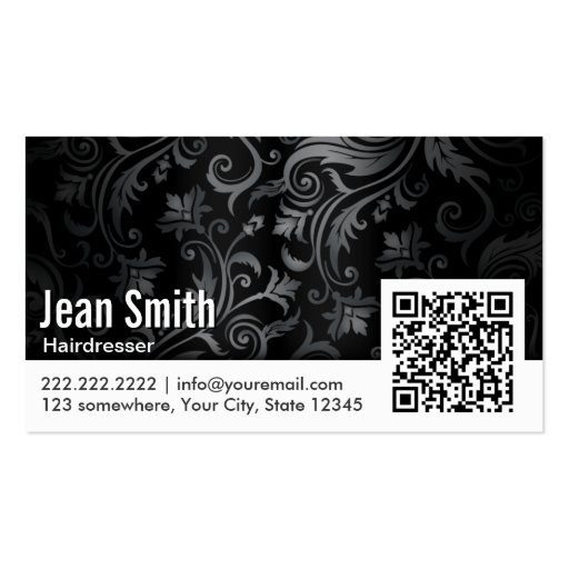 Floral Ornament QR Code Hairdresser Business Card