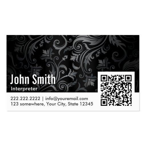 Floral Ornament QR Code Interpreter Business Card