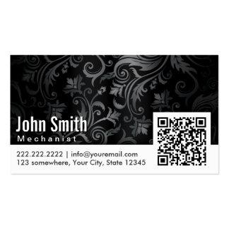 Floral Ornament QR Code Mechanic Business Card