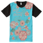 Floral Ornament Spring Peach Garden Flying Peacock All-Over-Print Shirt