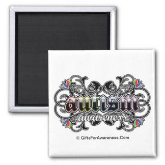 Floral Ornamental - Autism Awareness 2 Inch Square Magnet