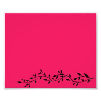 Floral ornamental del rosa y del negro impresión fotográfica