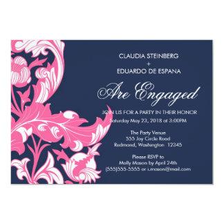 Floral oscuro y con clase elegante - azul marino, invitación personalizada