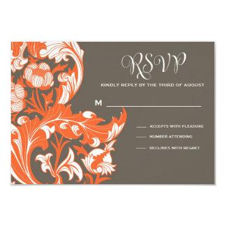 """Floral oscuro y con clase elegante - gris oscuro, invitación 3.5"""" x 5"""""""
