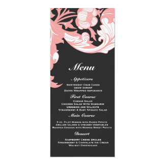 """Floral oscuro y con clase elegante - negro, rosa invitación 4"""" x 9.25"""""""