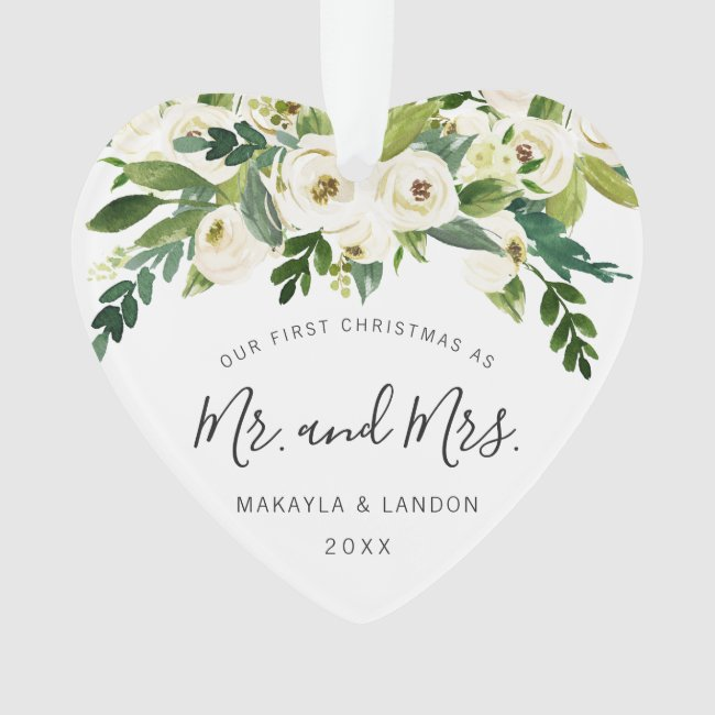 Floral Our First Christmas as Mr. and Mrs. Photo Ornament
