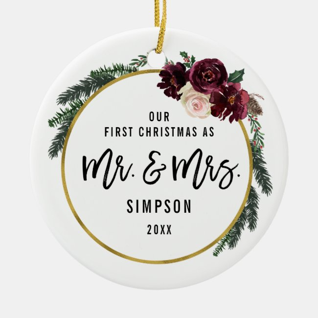 Floral Our First Christmas As Mr & Mrs Photo Ceramic Ornament