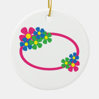FLORAL OVAL Double-Sided CERAMIC ROUND CHRISTMAS ORNAMENT