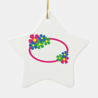 FLORAL OVAL Double-Sided STAR CERAMIC CHRISTMAS ORNAMENT