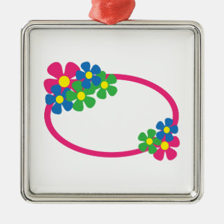 FLORAL OVAL SQUARE METAL CHRISTMAS ORNAMENT
