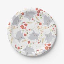 Floral Owl paper plates