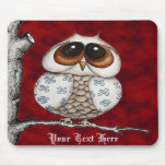 Floral Owl Red Mousepad