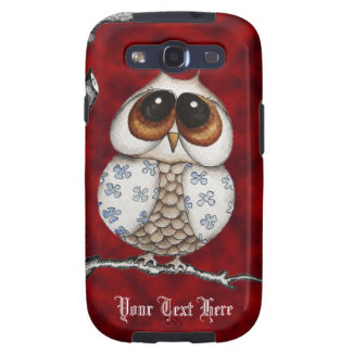 Floral Owl Red Samsung Galaxy S3 Case