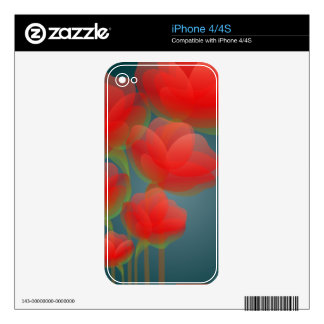 Floral Painted Tulips  Zazzle Skin Skins For The iPhone 4