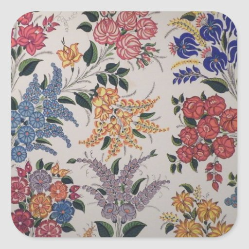 Floral painting square sticker
