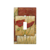 Floral Painting with Visible Brush Strokes Light Switch Cover