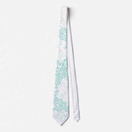 Floral Paisley Aqua Blue Stylish Custom Gift Tie