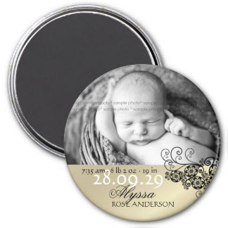 Floral Paisley Chic Black Birth Announcement Photo 3 Inch Round Magnet