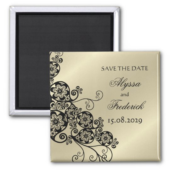 Floral Paisley Elegant Chic Save The Date Magnet
