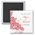 Floral Paisley Elegant Vintage Chic Save The Date 2 Inch Square Magnet