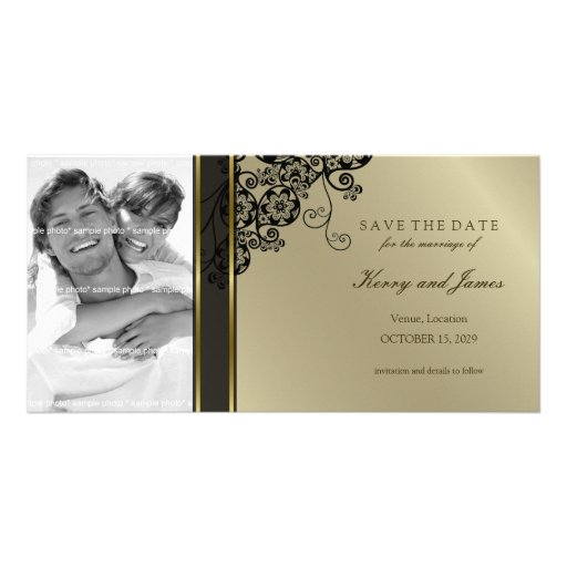 Floral Paisley Elegant Vintage Chic Save The Date Photo Card