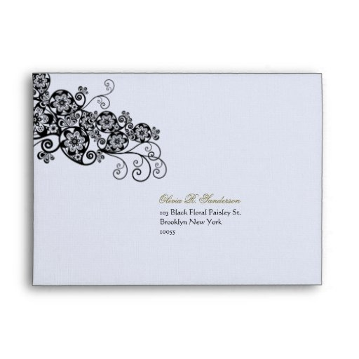 Floral Paisley Ink Black Custom Wedding Envelope