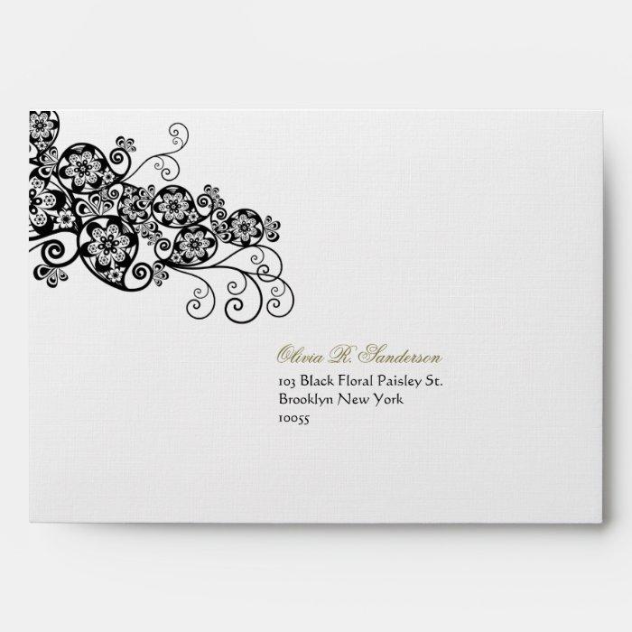 Floral Paisley Ink Black Custom Wedding Envelope