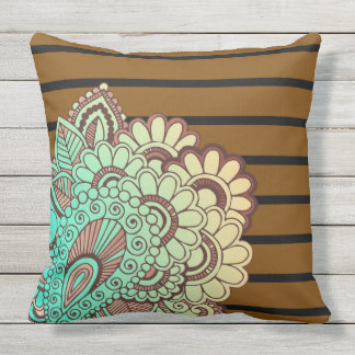 Floral Paisley ornaments & stripes + your ideas Throw Pillow