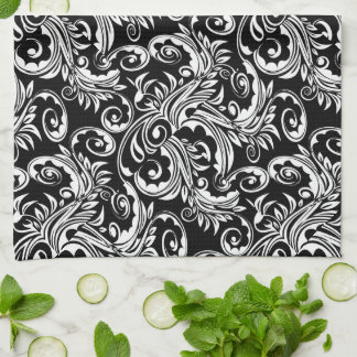 Floral paisley pattern black white hand towel