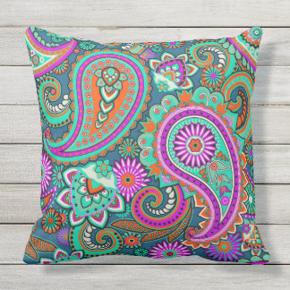 Floral Paisley seamless pattern II + your ideas Throw Pillow