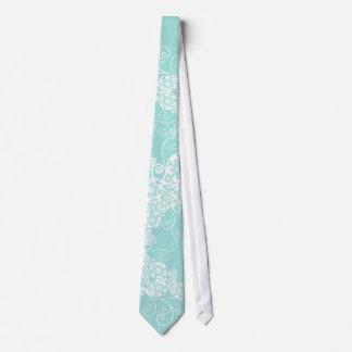 Floral Paisley White Aqua Stylish Custom Gift Tie