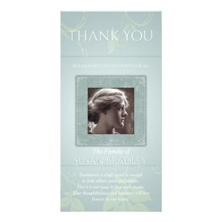 Floral Pale Blue Green Template Sympathy Thank You