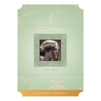 Floral Pale Green In Loving Memory Template Invite