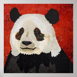 Floral Panda Art Poster