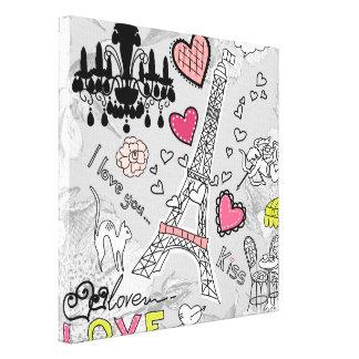 Floral Paris Eiffel Tower black pink and grey Canvas Print
