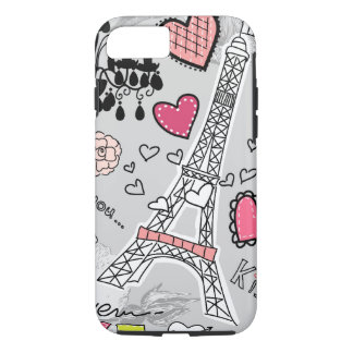 Floral Paris Eiffel Tower black pink and grey iPhone 8/7 Case