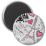 Floral Paris Eiffel Tower black pink and grey 2 Inch Round Magnet