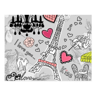 Floral Paris Eiffel Tower black pink and grey Postcard