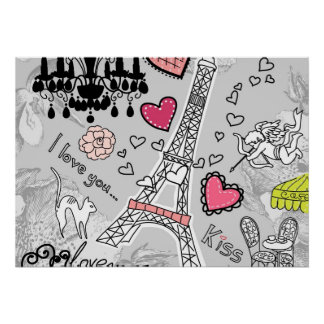 Floral Paris Eiffel Tower black pink and grey Print