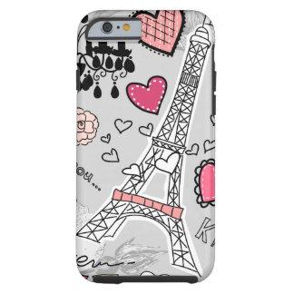 Floral Paris Eiffel Tower black pink and grey Tough iPhone 6 Case